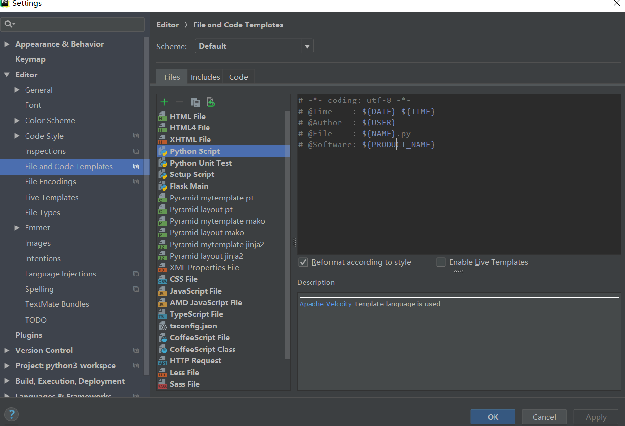 The new Pycharm template adds encoding format - author